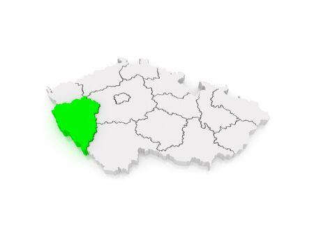 Map of Plzen Region. Czech Republic. 3d photo