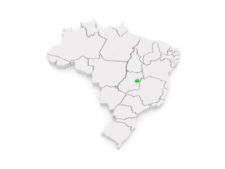 brasilia: Map of Brasilia. Brazil. 3d