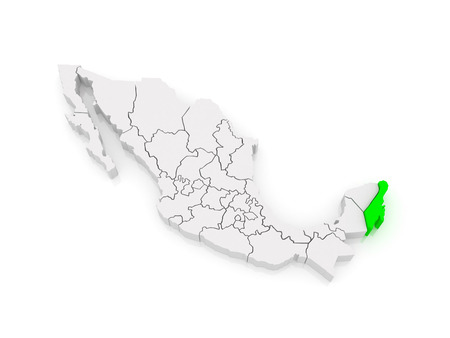 roo: Map of Quintana Roo. Mexico. 3d