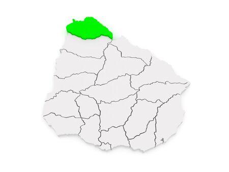artigas: Map of Artigas. Uruguay. 3d