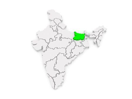 india 3d: Map of Bihar. India. 3d Stock Photo