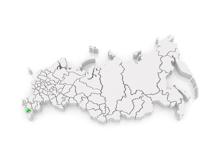 federation: Map of the Russian Federation. Republic of Ingushetia. 3d