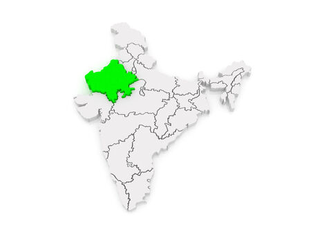 india 3d: Map of Rajasthan. India. 3d