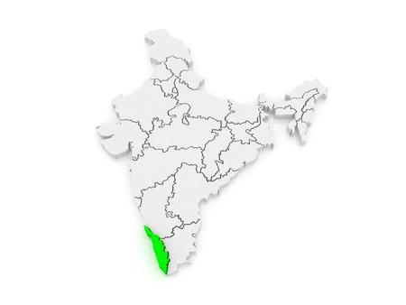 india 3d: Map of Kerala. India. 3d
