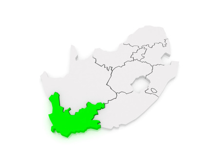western town: Map of Western Cape (Cape Town). South Africa. 3d