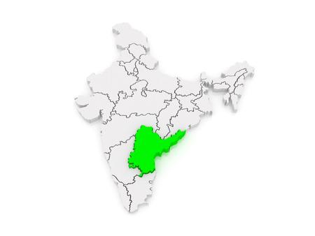 india 3d: Map of Andhra Pradesh. India. 3d