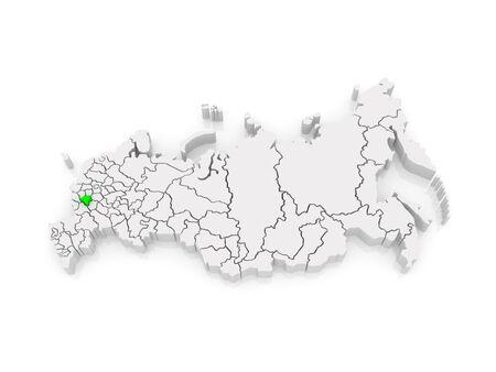 federation: Map of the Russian Federation. Lipetsk region. 3d