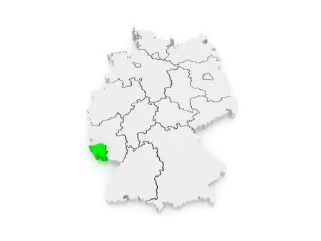 saarland: Map of Saarland. Germany. 3d Stock Photo