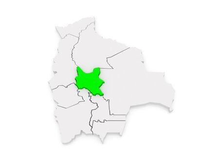 mapa de bolivia: Mapa de Cochabamba. Bolivia. 3d Foto de archivo