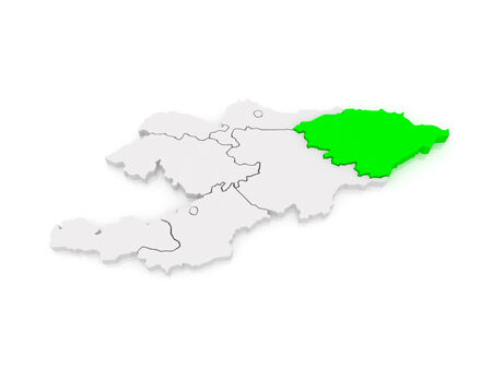 kyrgyzstan: Map of Issyk-Kul region. Kyrgyzstan. 3d Stock Photo