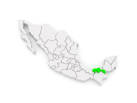 tabasco: Map of Tabasco. Mexico. 3d