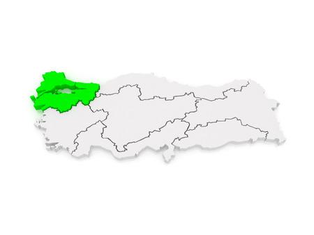 marmara: Map of Marmara Region. Turkey. 3d