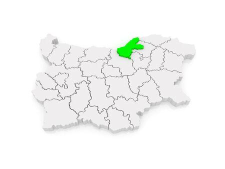 ruse: Map of Ruse region. Bulgaria. 3d Stock Photo