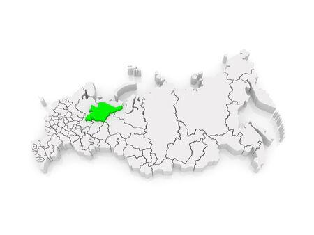federation: Map of the Russian Federation. Komi Republic. 3d Stock Photo