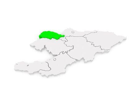 kyrgyzstan: Map of Talas. Kyrgyzstan. 3d