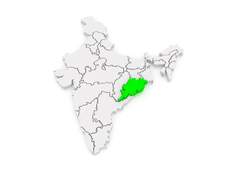 india 3d: Map of Odisha. India. 3d