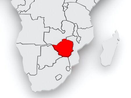 diplomacy: Map of worlds. Zimbabwe. 3d