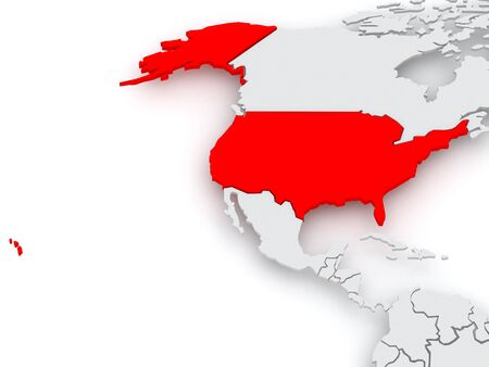 diplomacy: Map of worlds. USA. 3d Stock Photo