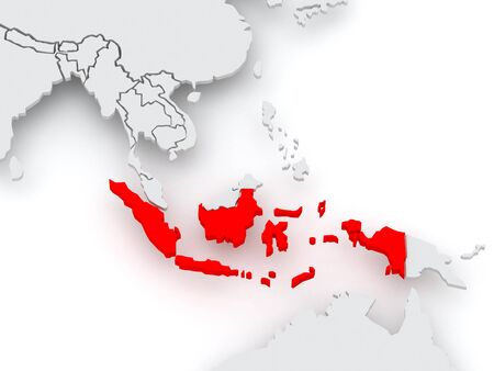 diplomacy: Map of worlds. Indonesia. 3d