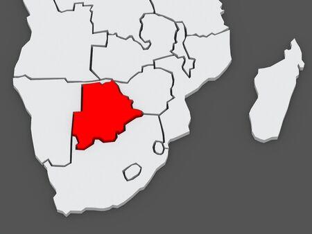diplomacy: Map of worlds. Botswana. 3d