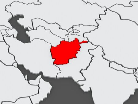 afghanistan': Map of worlds. Afghanistan. 3d