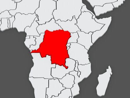 diplomacy: Map of worlds. Democratic Republic of Congo. 3d