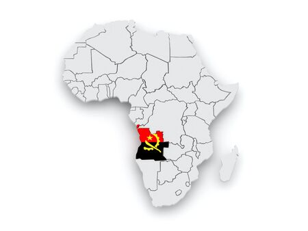 map of angola: Map of worlds. Angola. 3d Stock Photo