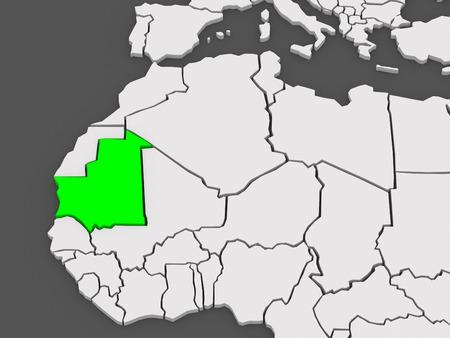 mauritania: Map of worlds. Mauritania. 3d