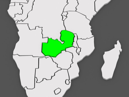 zambia: Map of worlds. Zambia. 3d Stock Photo