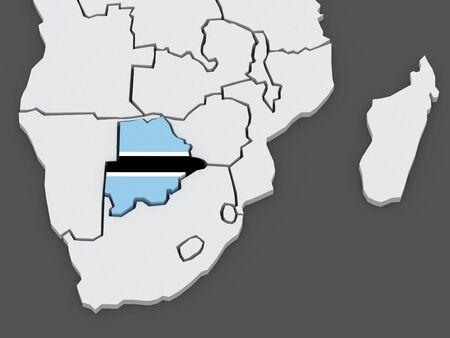 botswana: Map of worlds. Botswana. 3d