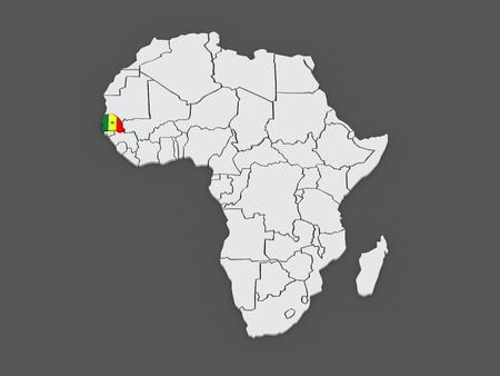 senegal: Map of worlds. Senegal. 3d