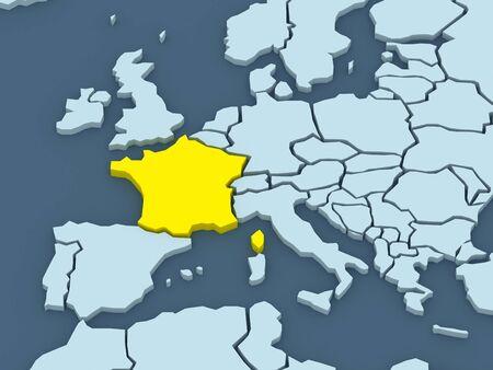republics: Map of worlds. France. 3d