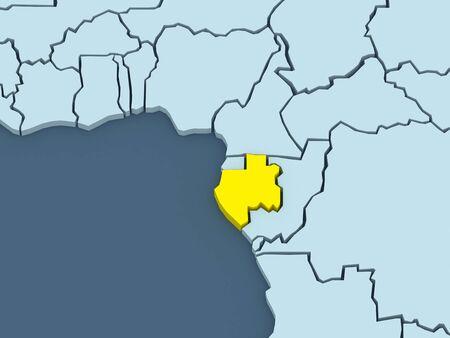gabon: Map of worlds. Gabon. 3d Stock Photo