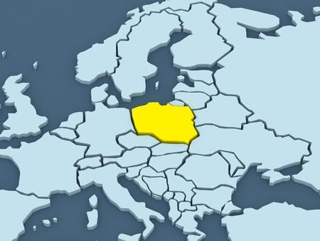 republics: Map of worlds. Poland. 3d