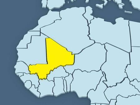 republics: Map of worlds. Mali. 3d Stock Photo