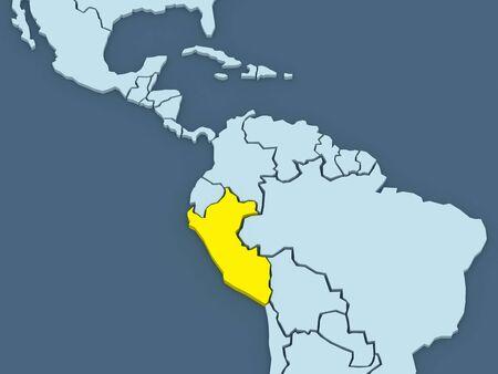 republics: Map of worlds. Peru. 3d