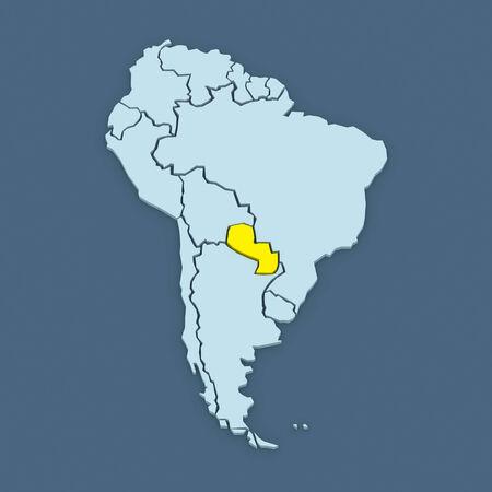 republics: Map of worlds. Paraguay. 3d