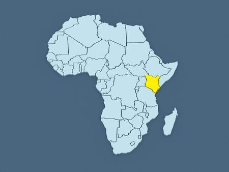republics: Map of worlds. Kenya. 3d Stock Photo