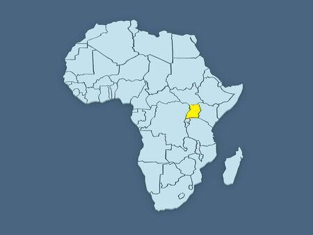 uganda: Map of worlds. Uganda. 3d