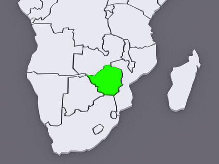 zimbabwe: Map of worlds. Zimbabwe. 3d