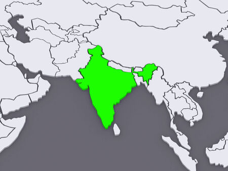 india 3d: Map of worlds. India. 3d