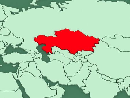 kazakhstan: Map of worlds. Kazakhstan. 3d