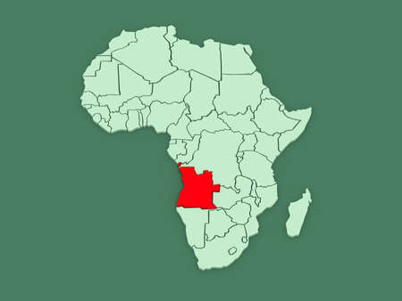 angola: Map of worlds. Angola. 3d Stock Photo