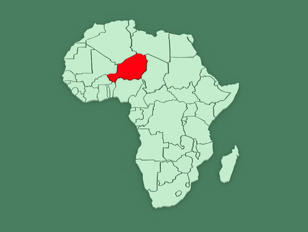 niger: Map of worlds. Niger. 3d