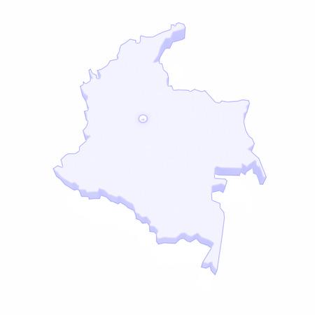columbia: Map of Columbia. 3d Stock Photo
