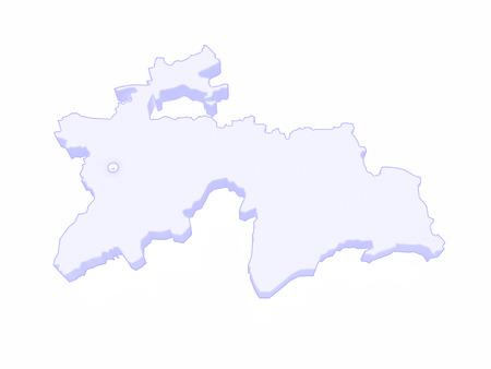 tajikistan: Map of Tajikistan. 3d