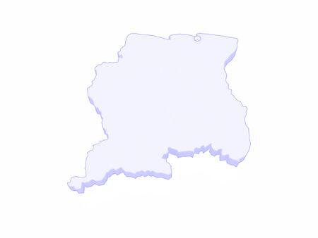 suriname: Map of Suriname. 3d