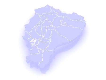 ecuador: Map of Ecuador. 3d Stock Photo