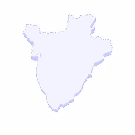 burundi: Map of Burundi. 3d