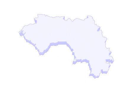 guinea: Map of Guinea. 3d